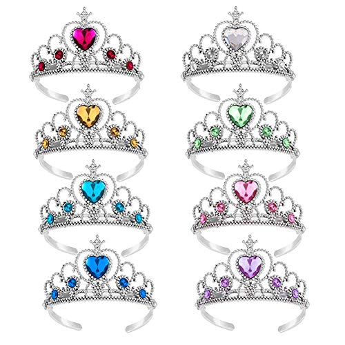Wenosda 8 stücke Dress up Tiara Crown Set Prinzessin kostüm Party zubehör für Kinder / mädchen / Kleinkinder (gelb + Marineblau + grün + rosa + weiß + rot + - Rote Herzen Prinzessin Kind Kostüm