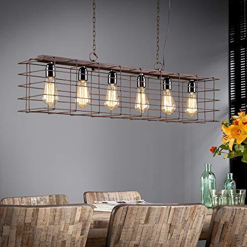 SalesFever Lámpara de Techo con 6 Llamas y Jaula de Metal XXL de Estilo Industrial, 95 x 150 cm, Clase energética A++ hasta E