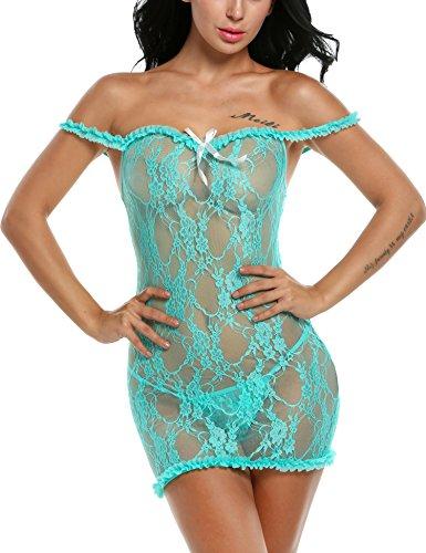 Avidlove Damen Sexy Negligee Spitzen Blusen Reizwäsche Transparent Nachtkleid Rückenfrei Babydoll Dessous Set mit G String Grün