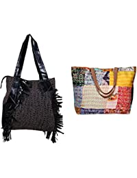 Indiweaves Combo Pack Of 1 Silk Kantha Beach Bags Bag And 1 Cotton Shopper Bag (Pack Of 2) 82100-134293-IW-P2