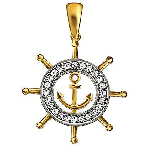 CLEVER SCHMUCK Goldener Anhänger Schiff Steuerrad Ø 18 mm mit kleinem Anker innen und vielen Zirkonias auf dem Ring 333 GOLD 8 KARAT