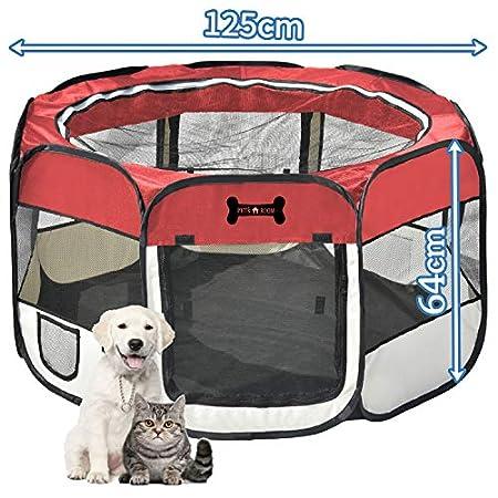 Mcdear Faltbarer Welpenlaufstall Oxford Tier Laufstall für Hunde Katzen Hasen Kleintiere
