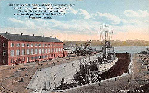 Military Battleship Postcard, Old Vintage Antique Military Ship Post Card  New Dry Dock, Puget Sound Navy Yard, Bremerton, WA, USA Unused