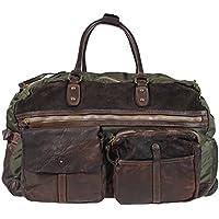custodia da viaggio Campomaggi Weekender C3797 trolley in pelle e mix di nylon dei bagagli a bordo dei bagagli nel colore Verde Marrone Moro