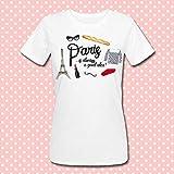 T-shirt donna Paris is always a good idea, Parigi è sempre una buona idea, torre Eiffel, baguette, marinière, rossetto e basco rosso!