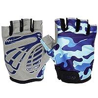 Gogokids Kids Half Finger Cycling Gloves - Children Sports Gloves for Roller Skating, Road Bicycle, Mountain Bike, Climbing, Blue L