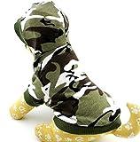 zunea Kleiner Hund Kleidung für Stecker Sommer Camo Muster Shirt Hoodie Jumper Grün