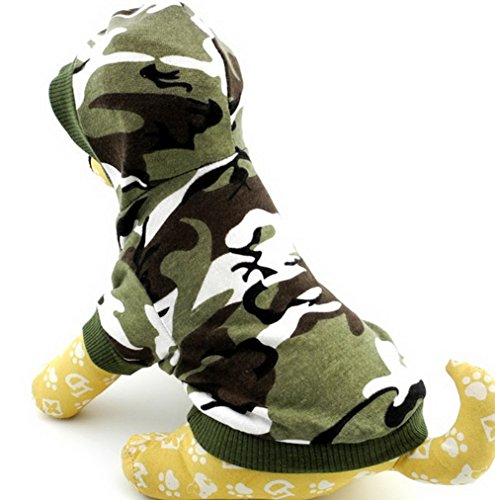 Zunea Kleiner Hund Kleidung für Stecker Sommer Camo Muster Shirt Hoodie Jumper Grün S