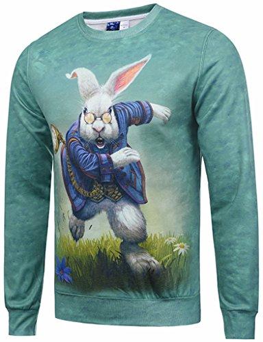 Pizoff Unisex lange Ärmel Rundhalsausschnitt Elastische Winter Warm Thicken gefütterte Sweatshirts mit Cartoon Kaninchen hasen 3D Druck