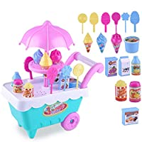 ADESHOP Children Educational Toys, Puzzle Toy Ice Cream Cart Play Set Kids Pretend Foods plaything Gift