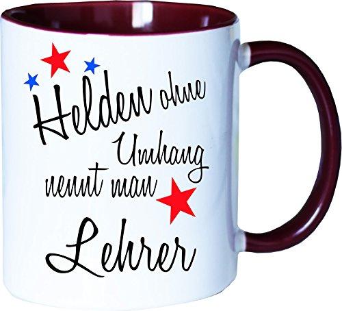 Mister Merchandise Becher Tasse Helden Ohne Umhang Nennt Man Lehrer Kaffee Kaffeetasse liebevoll Bedruckt Beruf Job Geschenk Weiß-Bordeaux