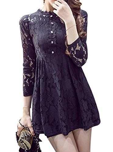 erdbeerloft - Damen Langarm Spitzenkleid, XS-XL, Viele Farben Schwarz