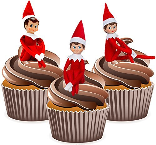 elf-on-the-shelf-12-christmas-cup-cake-toppers-edible-stand-up-decorations