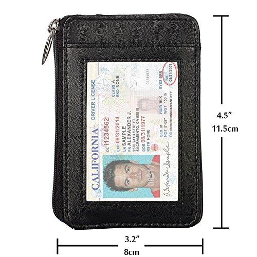 RFID-blockierender Sicherer Mini Portemonnaie & RFID Sleeve Echt Leder Fronttasche Brieftasche, beste Schutz für Ihre Kreditkarten braun schwarz