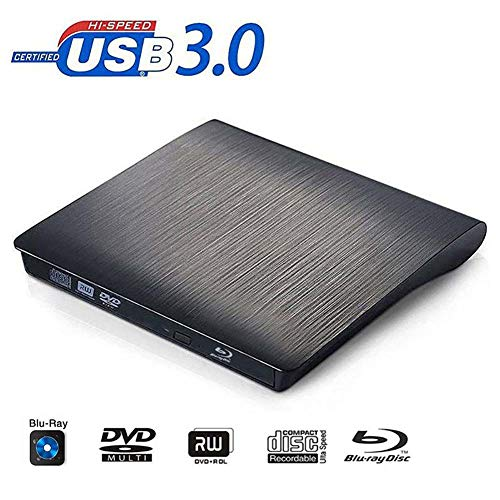 Aodelaiyin Externes gebürstetes mobiles USB3.0 Externes brennendes Blu-Ray-Laufwerk für Laptops, Mobile PCs und kompatible PCs Universal-CD-DVD-Blu-Ray-Brenner