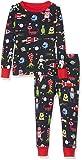 Hatley Jungen Organic Cotton Long Sleeve Printed Pyjama Set Zweiteiliger Schlafanzug, Space Aliens, 2 Jahre