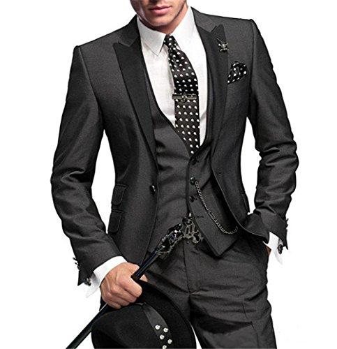 GEORGE Costume Homme Hommes Parti Costume 5 pièces veste +gilet + pantalon+ cravate+ carré de poche 002 Noir