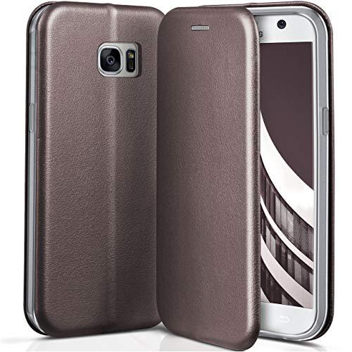ONEFLOW Samsung Galaxy S7 | Hülle Anthrazit-Grau mit Karten-Fach 360° Business Klapp-Hülle Handytasche Kunst-Leder Handyhülle für Samsung Galaxy S7 Flip Case Cover Tasche Schutzhülle