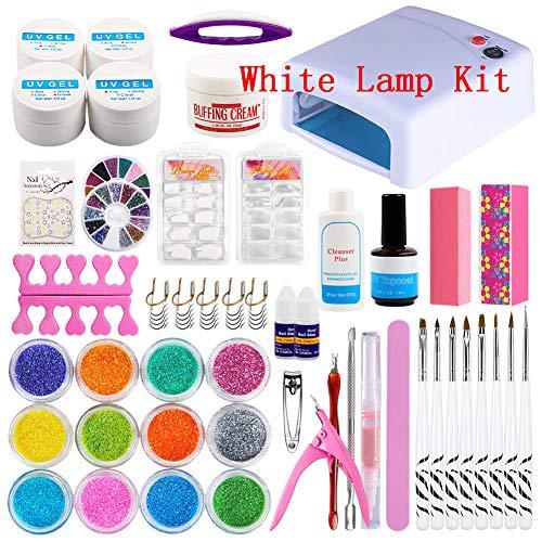 YAOHM 36W UV Lámpara de uñas Acrílico Art Nail Kit UV Gel Glitter Powder para Kit de Herramientas de manicura Decoración Profesional Nail Art Set,Whitelampkit