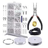 Tropstic bisutería Kit DIY Joyas Accesorios Herramienta Reparación Kit con, Pinzas, Alambre y Cadena Pendientes Spaltringe Pulsera Collares para Principiantes