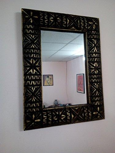 Specchio Cornice da Muro in Legno Intagliato Marocco 1253 Moroccan Marocchino Etnico Africano Artigianato Hand Made