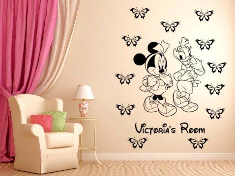 Minnie Maus und Daisy Duck personalisierbar Wandtattoo, Wand Aufkleber Wand Kunst. schwarz
