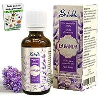 Olio Essenziale alla Lavanda + Ebook Incluso • MADE IN ITALY • 100% Puro Naturale per Aromaterapia e Diffusore • Disturbi Infantili • Dolori Mestruali • Grado Alimentare Vegano • 50 ml boccetta vetro