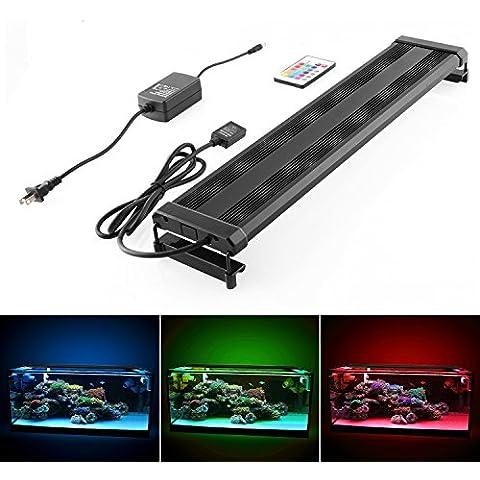 Amzdeal Lámpara Ultrafina, luces para acuarios y estanques, 25w 1200lm 95-115cm 144LED, Color de luz blanco y RGB, con enchufe EU