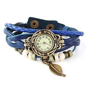 Reloj de Pusra Cuarzo Cuero Trenzado Mariposa Retro para Mujer Vintage por Angelo Caro