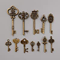 Kicode 12 Surtido antiguo Old Vintage Look grandes Royal llaves maestras Bronce colgantes de la vendimia