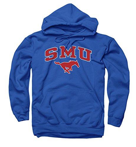 Campus Colors Campus Farben SMU Mustangs Erwachsene Arch und Logo Sweatshirt mit Kapuze-Royal, Herren, Königsblau, Small -