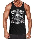 Herren Tanktop Tank Top - Biker T-Shirt Lucky 7 Totenkopf Pik Mottorrad Shopper USA Live to Ride - MoonWorks® schwarz XXL