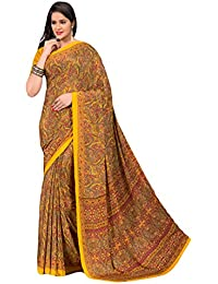 Salwar Studio Women's Yellow & Red Italian Creape Floral Printed Saree With Blouse Piece