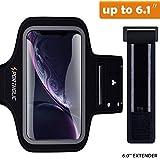 PORTHOLIC Brassard de Sport pour iPhone XR,-avec Sangle Ajustable- Anti-Sueur Armband avec Porte-Clés&Cartes,Attache pour Câble