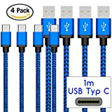 Coverlounge - Nylon USB Typ C Kabel [4-Pack] / Datenkabel/Ladekabel [2.1 A] für alle Motorola Smartphones mit USB Typ C Anschluss | Farbe: Dunkel Blau | Länge: 1 Meter / 1m