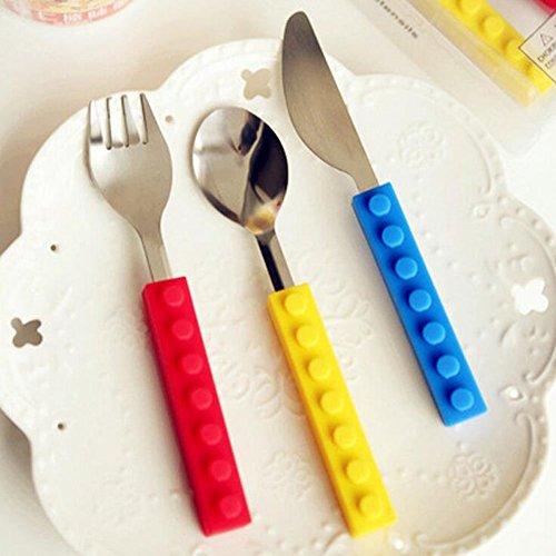 Ustensiles en acier inoxydable de bloc de construction Empilable Ustensile Couteau Cuillère Coutellerie Set pour les enfants