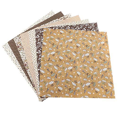 Baumwollgewebe, 7 stücke 50 * 50 cm Top Baumwolle Handwerk Stoff Quadrate Nähen Handwerk Patchwork DIY Verschiedene Quadrate Pre-Cut Bettwäsche Kit Viertel Bundle(Braun)
