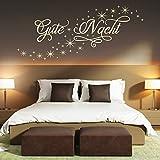 Wandtattoo Gute Nacht Sternen Himmel | Schlafzimmer Deko schlafen träumen schön Pastellgrün 622 91 x 40 cm