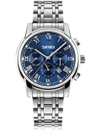 Mens Luxury Quartz Wrist Watches Roman Numeral Moon Phase Complete Calendar Design with Luminous Gents Unique Business Classic Dress Watch (Luxury Blue)