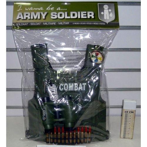 DG 697/34690 - Set Militare Composto da Corpetto, BINOCOLO, Bussola, MEDAGLIETTA E PROIETTILI
