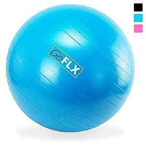 Gymnastikball, GoFLX 55cm Deluxe Anti Burst Fitnessball, Sitzball und Pezziball in einem (Blau) - für Fitnessübungen, Yoga, Pilates oder als Bürostuhl - mit Pumpe