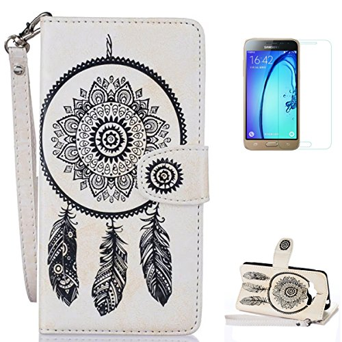 Samsung Galaxy J3 2016/2015 Case [with Free Screen Protector],CaseHome Mandala Dreamcatcher Feather Pattern Folio Flip Magnetic Closure Wallet Design with Card Slot and Wrist Strap Stand Feature Shockproof Soft Rubber Bumper Protective Faux Leather Case Cover Skin Shell for Samsung Galaxy J3 2016/2015-White Test