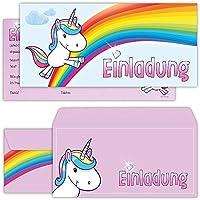 beriluDesign Einhorn Einladungskarten mit Umschlägen (12er Set) zum Kindergeburtstag Kinder Geburtstag-Einladungen Karten Feier Party Mädchen