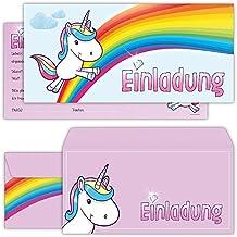 Einhorn Einladungskarten Mit Umschlägen (12er Set) Zum Kindergeburtstag Von  BeriluDesign | Kinder Geburtstag