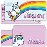 beriluDesign Einhorn Einladungskarten mit Umschlägen (12er Set) zum Kindergeburtstag Unicorn Kinder Geburtstag-Einladungen Karten Feier Party Mädchen