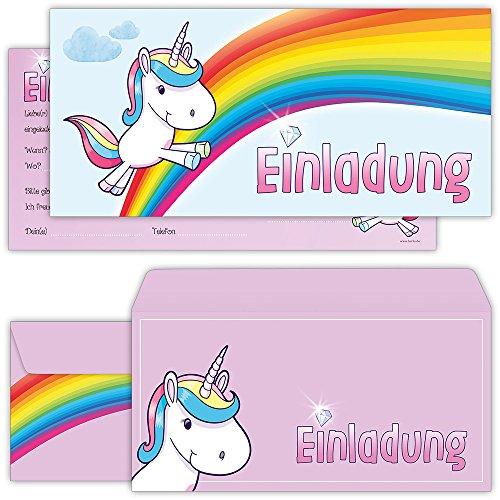 beriluDesign Einhorn Einladungskarten mit Umschlägen (12er Set) zum Kindergeburtstag Unicorn Kinder Geburtstag-Einladungen Karten Feier Party Mädchen (Einladungen Geburtstags Karte)