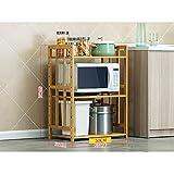 Küche Regale Vorratsdose Rack Mikrowelle Regal Backofen Utensilien Rahmen Bodenstehende 3-Tier Schichten Multilayer Artikel Holz 55/60/70/80 * 80 * 38cm (Größe: 70cm) ( Farbe : - , Größe : 55CM )