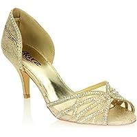 Donne Le Signore Sera Martimonio Festa Medio Kitten Heel Diamante Peep Toe Nuziale Sandalo Scarpe Taglie (Oro, Argento)