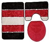 Ilkadim Orion Badgarnitur 3 TLG. Set 60x100 cm, farbig gestreift, WC Vorleger mit Ausschnitt für Stand-WC (schwarz Bordeaux grau)