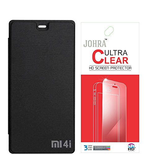Johra Premium Quality Black Flip cover For Xiaomi Mi4i + Free Clear Screen guard